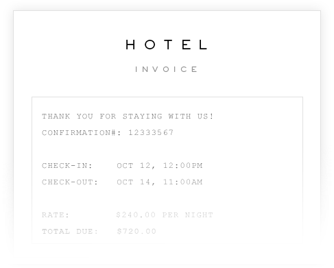 Hotel invoice